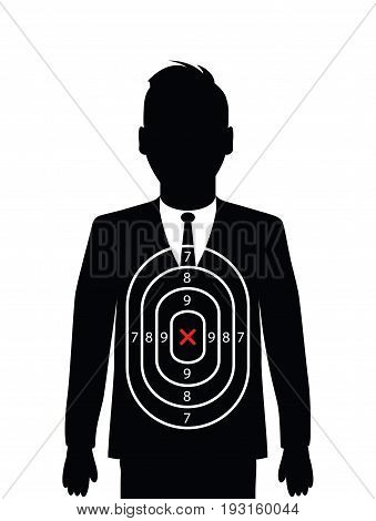 a black and white business man shooting target