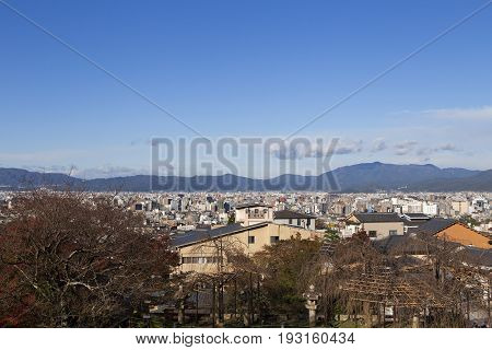 Cityview of Kyoto Japan. Seen from Kiyomizu-dera temple in autumn