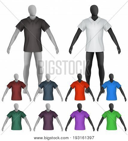 Template of plain polo shirt on mannequin torso.