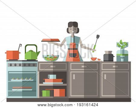 A woman in an apron preparing food in the kitchen. Vector illustration, isolated on white bsckground.