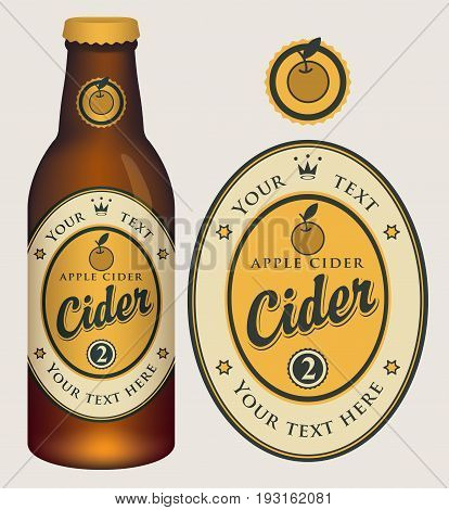 Vector label for apple cider with crown and inscription in oval frame. Template label for cider and neck label on glass bottle with cap in retro style.