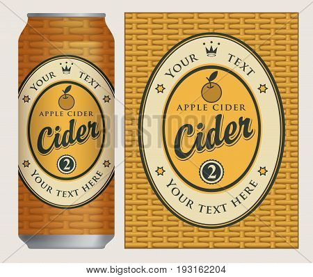Vector label for apple cider in an oval frame with an apple and a crown on basket background. Template label for cans cider in retro style.