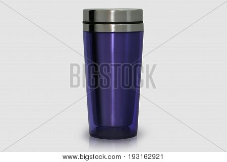 Thermo mug made of stainless steel purple isolate on white