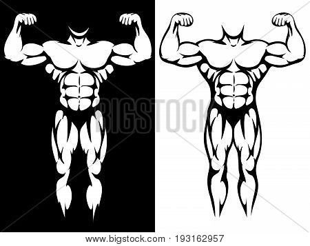 Male athletic body and muscules silhouettes in black and white colors. Vector illustration