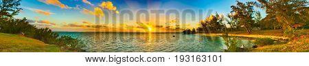 Coastal view at sunset. Mauritius island. Panorama