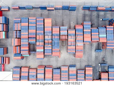 Large container shipping at shipping yard main transportation of cargo container shipping. Shipping concept for Global business shippingLogisticImport and Export industry.