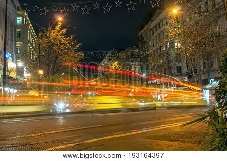 ATHENS, GREECE - JANUARY 20, 2017: Night photo of Street in Athens, Attica, Greece