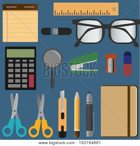 Stationery elements set. Elementary school appliances collection. Education tools. Scissors, pen, pencil, stapler eraser ruler divider supplies. Stationery icons vector flat illustration eps10.
