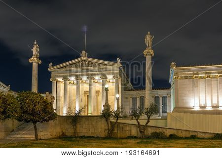 ATHENS, GREECE - JANUARY 19 2017:  Night view of Academy of Athens, Attica, Greece