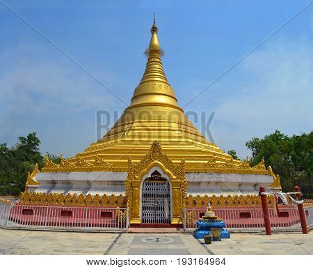 Myanmar Golden Temple in Lumbini, Nepal - birthplace of Buddha Siddhartha Gautama.