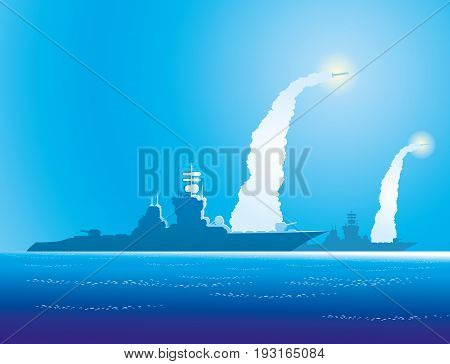 Silhouettes of warships in the blue sea.