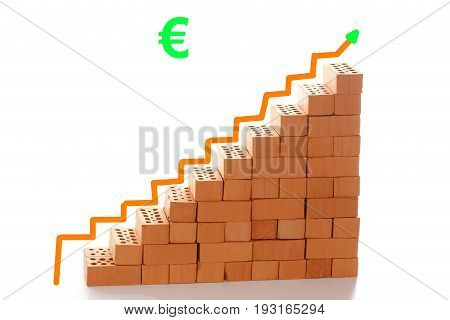 stairway symbol with bricks and arrow to top