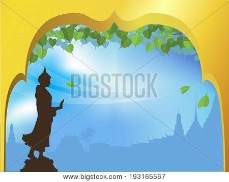 Buddha statue and Bodhi tree with Golden arch temple of thai tradition background. vector illustration.