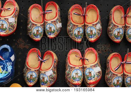 Volendam, the Nederlands, June 23rd 2017: Colorful painted clogs the traditional Dutch wooden shoes in a tourist shop