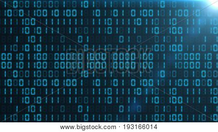Blue binary code background with a light in the top right corner.