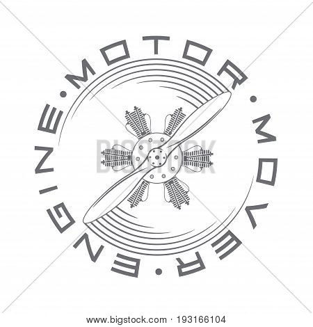 An illustration depicting an aircraft engine, in the form of an emblem or logo