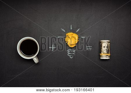 Business Concept Made Of Light Bulb Symbol, Coffee Cup And Money On Blackboard
