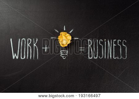 Business Concept Made Of Light Bulb Symbol And Work And Business Inscription On Blackboard