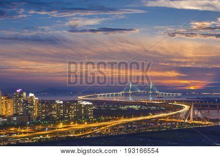 Korea Landmark, The Famous Bridge Of Korea In Aerial View, Incheon, South Korea.