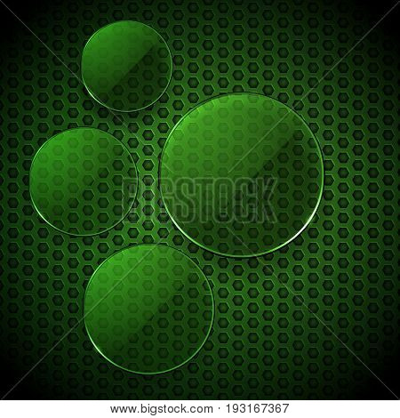 3D Illustration of Blank Green Glass Circles Info Graphic Over Honeycomb Background
