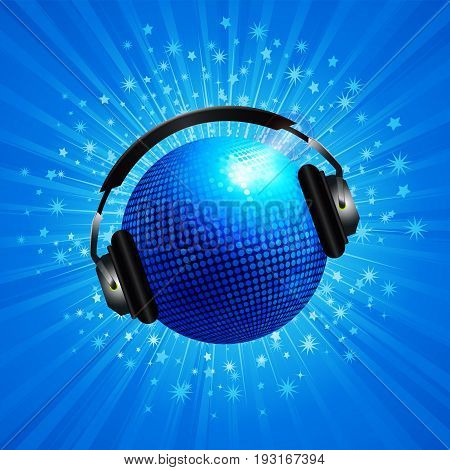 3D Illustration of Blue Disco Ball with Headphones Over Blue Star Burst Background
