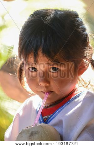 CHIANGMAI THAILAND - JANUARY 24 2015: Indigenous little girl sucking coconut jiuice in 22nd Traditional Skirt Fabric and The Indigenous Product and Culture Festival in Chainagmai Thailand