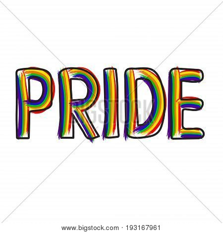 Colored rainbow letters of the handwritten text Pride. Original symbol for gay parade. Vector designe.