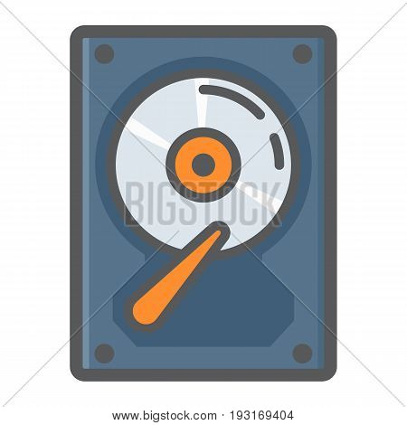 Hard disk colorful line icon, hardware and hdd, vector graphics, a filled pattern on a white background, eps 10.