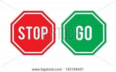 Stop and go signs in red and green respectively isolated. Vector stock.