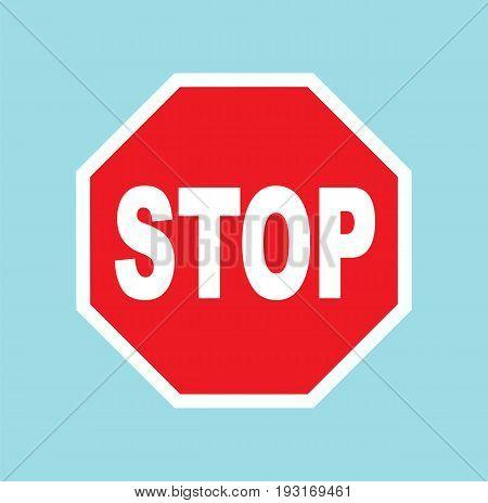 Red stop sign. Traffic regulatory warning stop symbol. Vector stock.