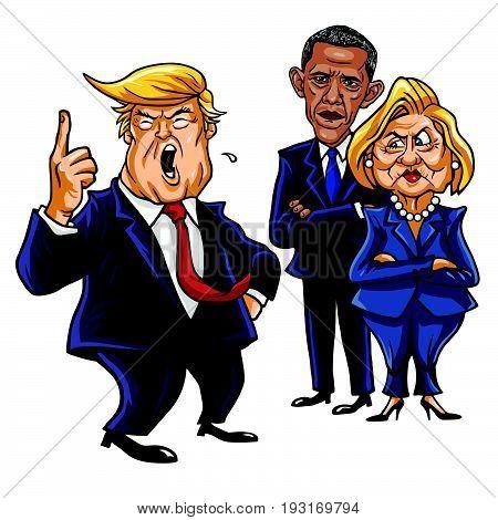 Donald Trump, Hillary Clinton, and Barack Obama. Cartoon Caricature Vector Illustration. June 29, 2017