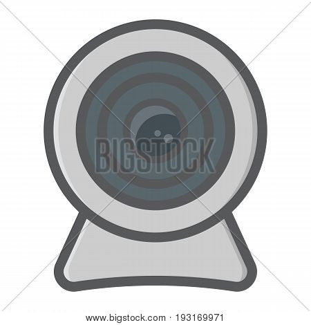Webcam colorful line icon, device and camera, vector graphics, a filled pattern on a white background, eps 10.