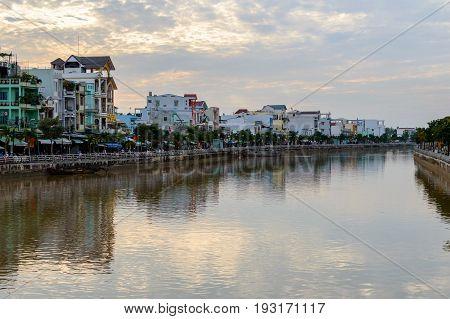Riverside Stilt Houses In The Mekong Delta