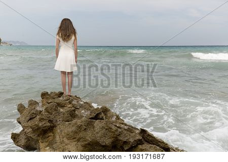 Teenage Girl In White Dress