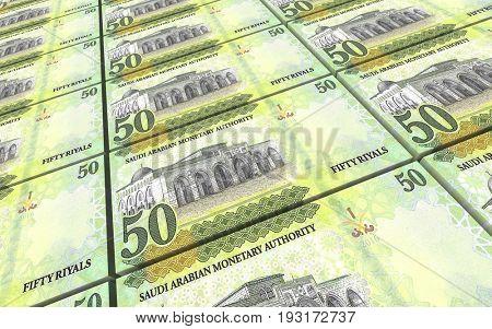 Saudi Arabia rials bills stacks background. 3D illustration.