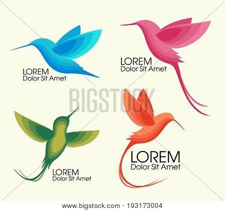 Modern Set . Colorful birds, Colibri in flight, trendy minimalistic template design for logos, emblems, symbols
