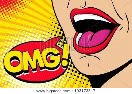 Closeup of sexy open female mouth screaming announcement and speech bubble with OMG! text. Vector bright colorful background in comic retro pop art style.