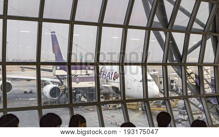 BANGKOK-MARCH 25 2016. Airbus A380 from THAI and Star Alliance airlines parked at Suvarnabhumi International Airport. It is the primary airport serving bangkok the capital of Thailand