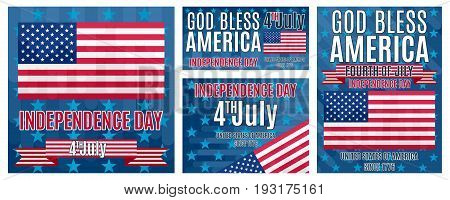A selection of bright flat posters on the day of independence of America Fourth of July
