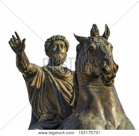 Ancient equestrian monument of emperor Marcus Aurelius a bronze replica of 2nd century AD statue in the center of Capitol Hill Square in Rome (isolated on white background)