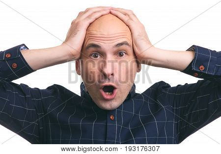 Shocked Bald Guy. Hair Loss. Isolated