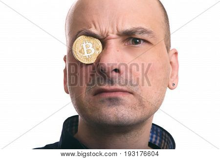 Blockchain Mining. Portrait Of A Man With Bitcoin Coin