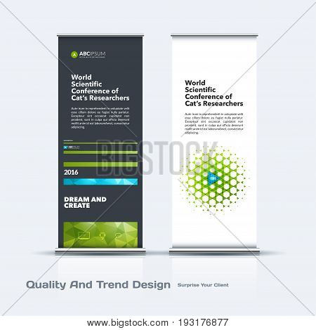 Abstract business vector set of modern roll Up Banner stand design template with green lines, diagonal shapes for eco, market, exhibition, show, expo, presentation, parade, events.