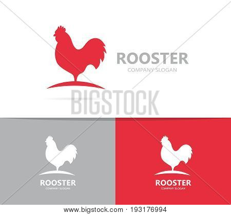 red rooster logo combination. Cock and chicken symbol or icon. Unique bird and cockerel logotype design template.