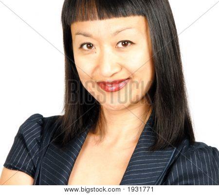 Asian Woman In Blue Suit
