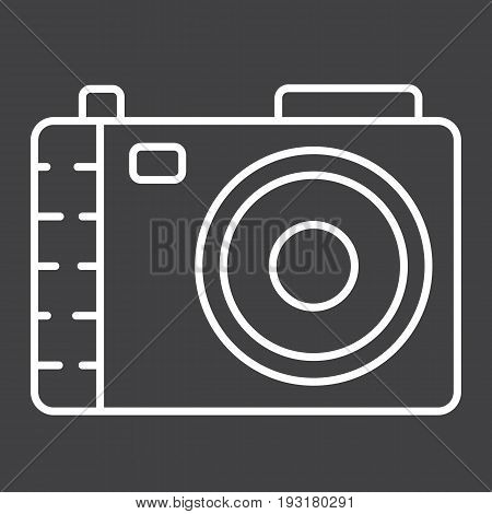 Camera line icon, photo and capture, vector graphics, a linear pattern on a black background, eps 10.