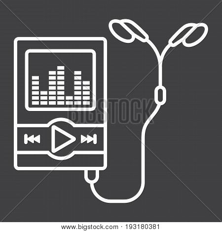 Music player line icon, mp and device, vector graphics, a linear pattern on a black background, eps 10.