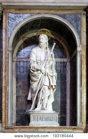 ROME, ITALY - SEPTEMBER 02: St James the Great by Ippolito Buzzi statue in Chapel of St James, Church San Giacomo in Augusta in Rome, Italy on September 02, 2016.