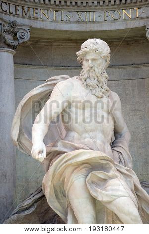 ROME, ITALY - SEPTEMBER 01: Ocean, the main statue of the Trevi Fountain in Rome. Fontana di Trevi is one of the most famous landmark in Rome, Italy on September 01,2016.