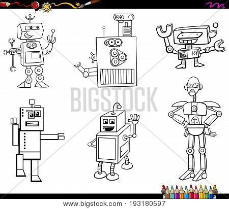 Black and White Cartoon Illustration of Robot Fantasy Characters Set Coloring Book